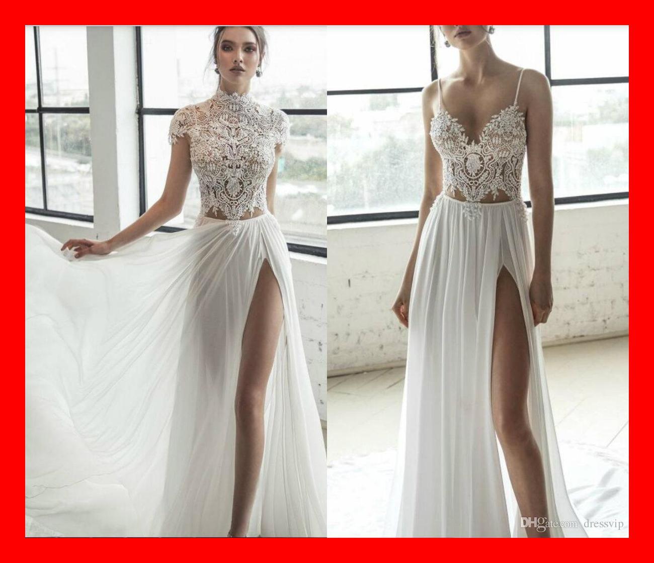 Discount 2019 Julie Vino Beach Wedding Dresses With Wrap Side Split ...