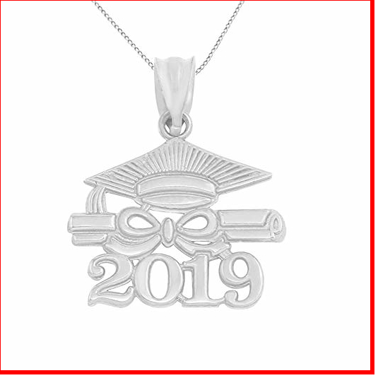 Amazon.com: 925 Sterling Silver Diploma & Cap Charm 2019 Graduation ...