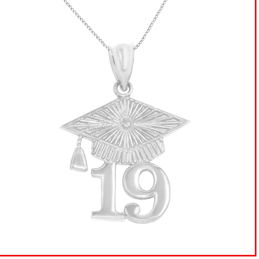 Solid White Gold 2019 Graduation Cap Pendant Necklace